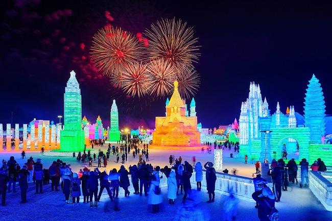 Lễ hội băng đăng quốc tế Cáp Nhĩ Tân tại Trung Quốc. Ảnh: Los Angeles Times