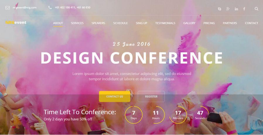 Ý tưởng marketing sự kiện qua giao diện website. Ảnh: colorlib