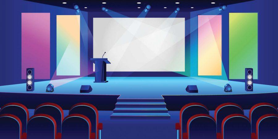 Sân khấu là một trong những yếu tố cần cân nhắc khi lựa chọn địa điểm tổ chức sự kiện trực tuyến. Ảnh: icohere.