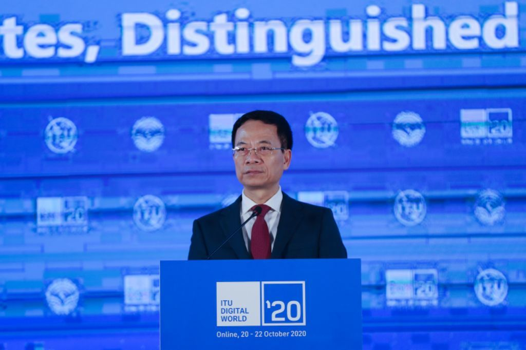 Bộ trưởng Bộ TT&TT Nguyễn Mạnh Hùng phát biểu khai mạc Hội nghị và Triển lãm trực tuyến Thế giới số 2020